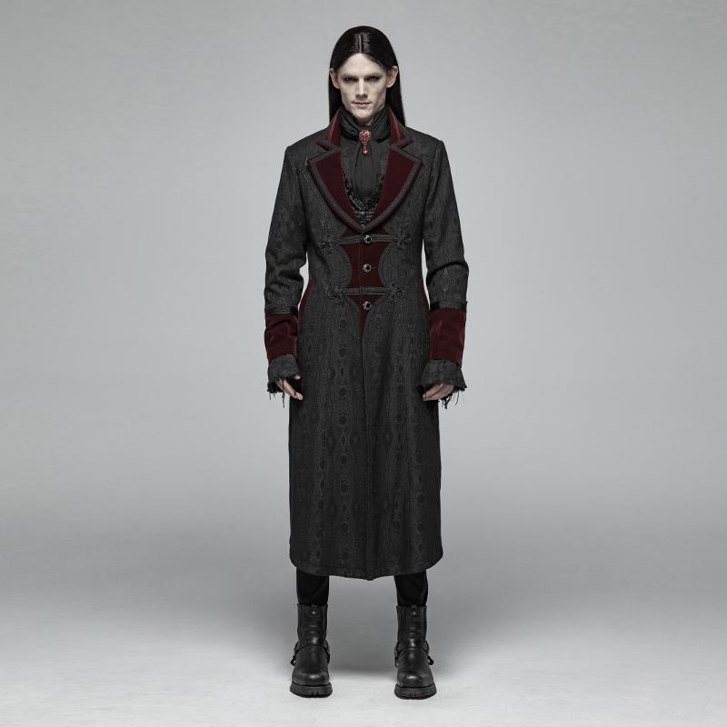 Men's Goth Jacquard Contrast Color Overcoat - PunkDesign