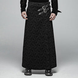 Men's Goth Jacquard Skirts With Faux Leather Belts - PunkDesign