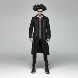 Men's Goth Military Overcoat - PunkDesign