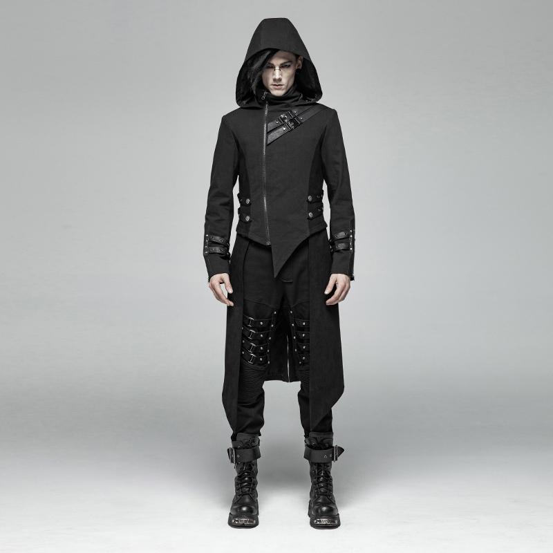 Men's Goth Military Style Dovetail Jacket With Detachable Hem - PunkDesign