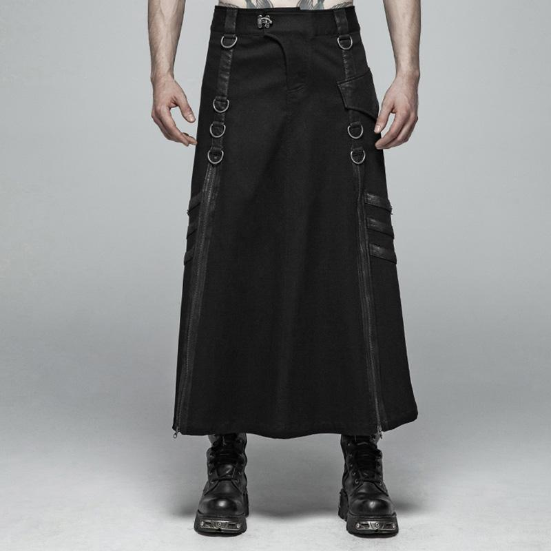 Men's Goth Side-Zipper Maxi Kilts - PunkDesign