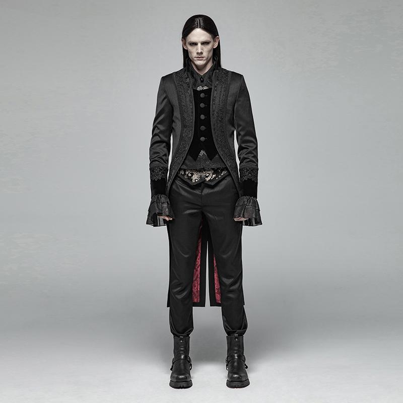 Men's Goth Single-Breasted Dovetail Overcoat - PunkDesign