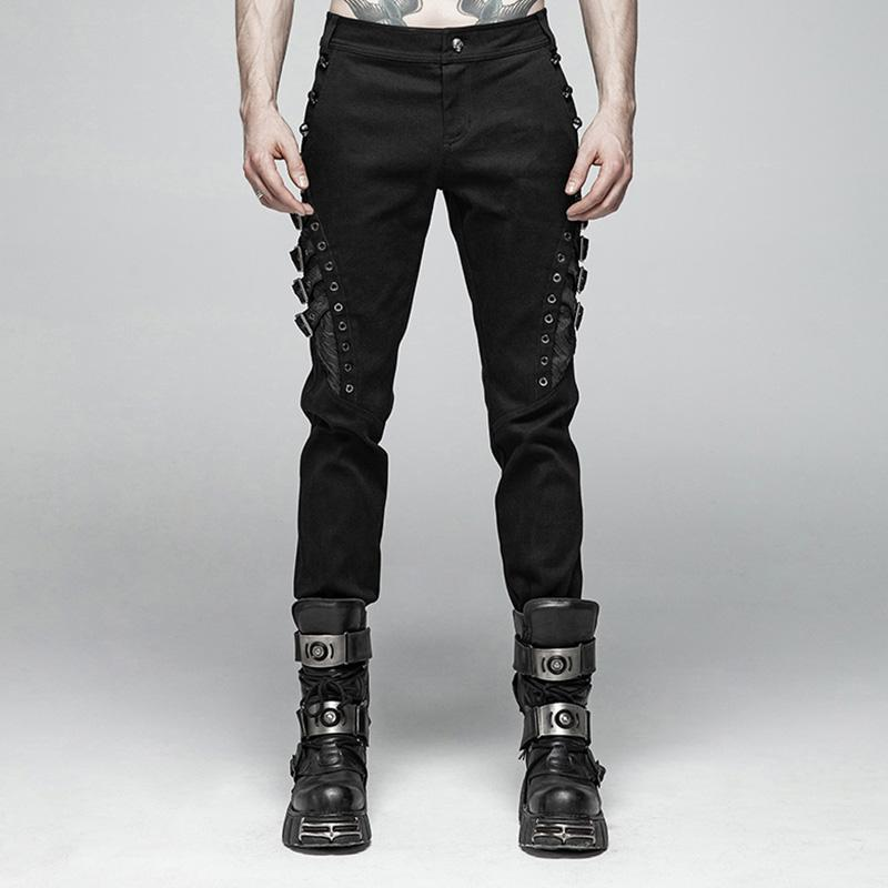 Men's Goth Straight-Leg Pants With Straps - PunkDesign