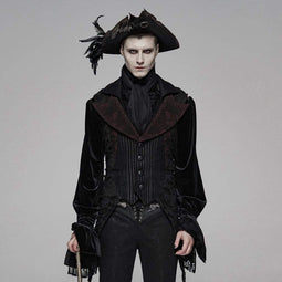 PUNK RAVE Men's Goth Turn-down Collar Pinstripes Swallow-tailed Waistcoat