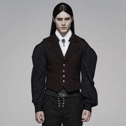 PUNK RAVE Gilet Homme Goth Turn-down col simple boutonnage rouge vin
