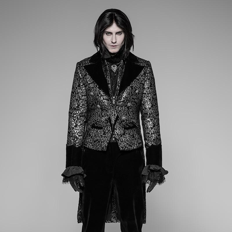 Men's Goth Velvet & Brocade Tailcoat - PunkDesign