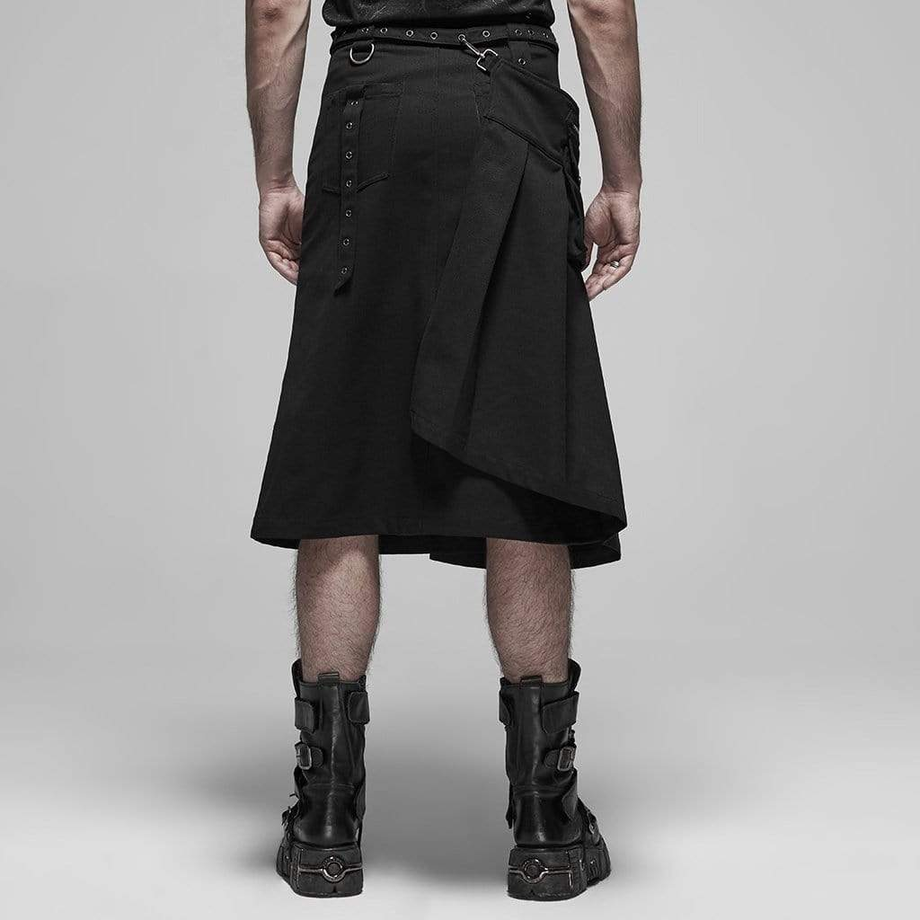 Herren Pure Color Punk Retro Goth Tasche Scottish Fashion Kendo Rock Faltenrock Mens Vintage Kilt Schottland Gothic Fashion Kendo Pocket R/öcke Schottische Kleidung