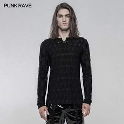 Punk Rave Men's Gothic Dark Texture Long Sleeved T-shirts