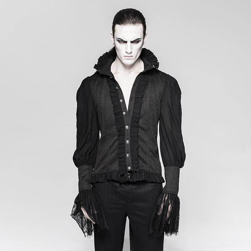 Men's Gothic Dovetail Ruffles Lace Long Sleeves Shirts - PunkDesign