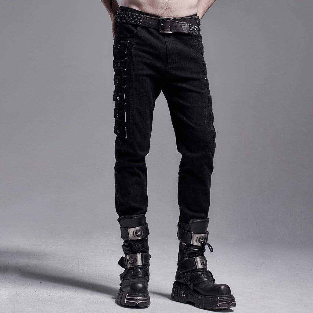 Punk Rave Herren Gothic Fitted Pants With Chains
