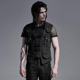 Punk Rave Men's Gothic Front Zip Vests With Pockets And Chains