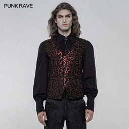 Punk Rave Men's Gothic Gorgeous Jacquard Vests With Pocket