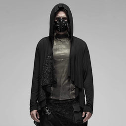 PUNK RAVE Men's Gothic Hooded Irregular Stitching Cloaks