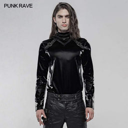 Punk Rave Men's Gothic Imitation Shark Skin Long Sleeved T-shirts