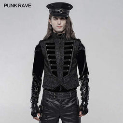 Punk Rave Men's Gothic Jacquard Front Breasted Vests