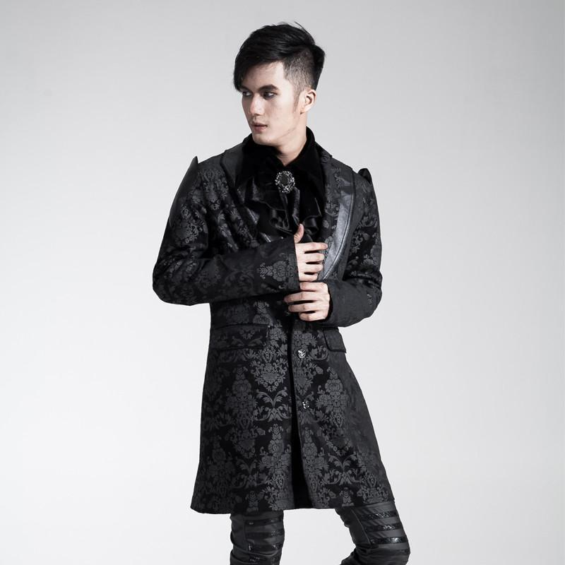 Men's Gothic Jacquard Overcoat - PunkDesign