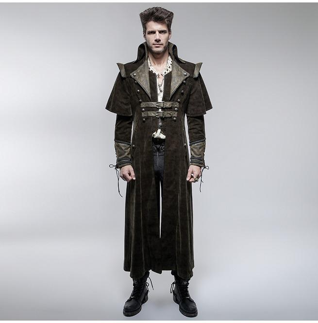 Men's Gothic Killer Caped Overcoat - PunkDesign
