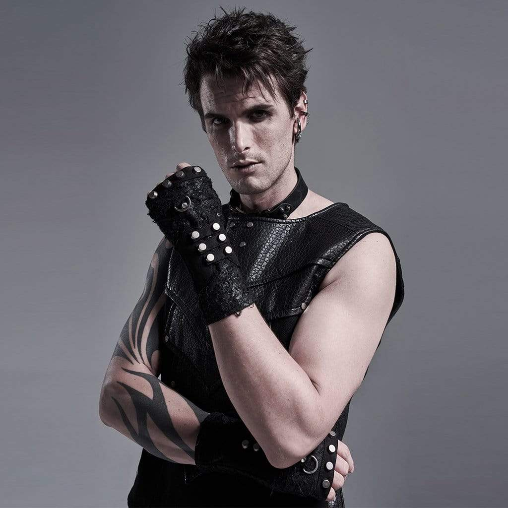 Punk Rave Men's Gothic Long Gloves With Rivets