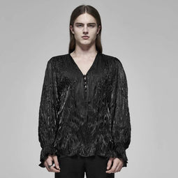 Men's Gothic Long Sleeved Feather Drape Shirts-Punk Design