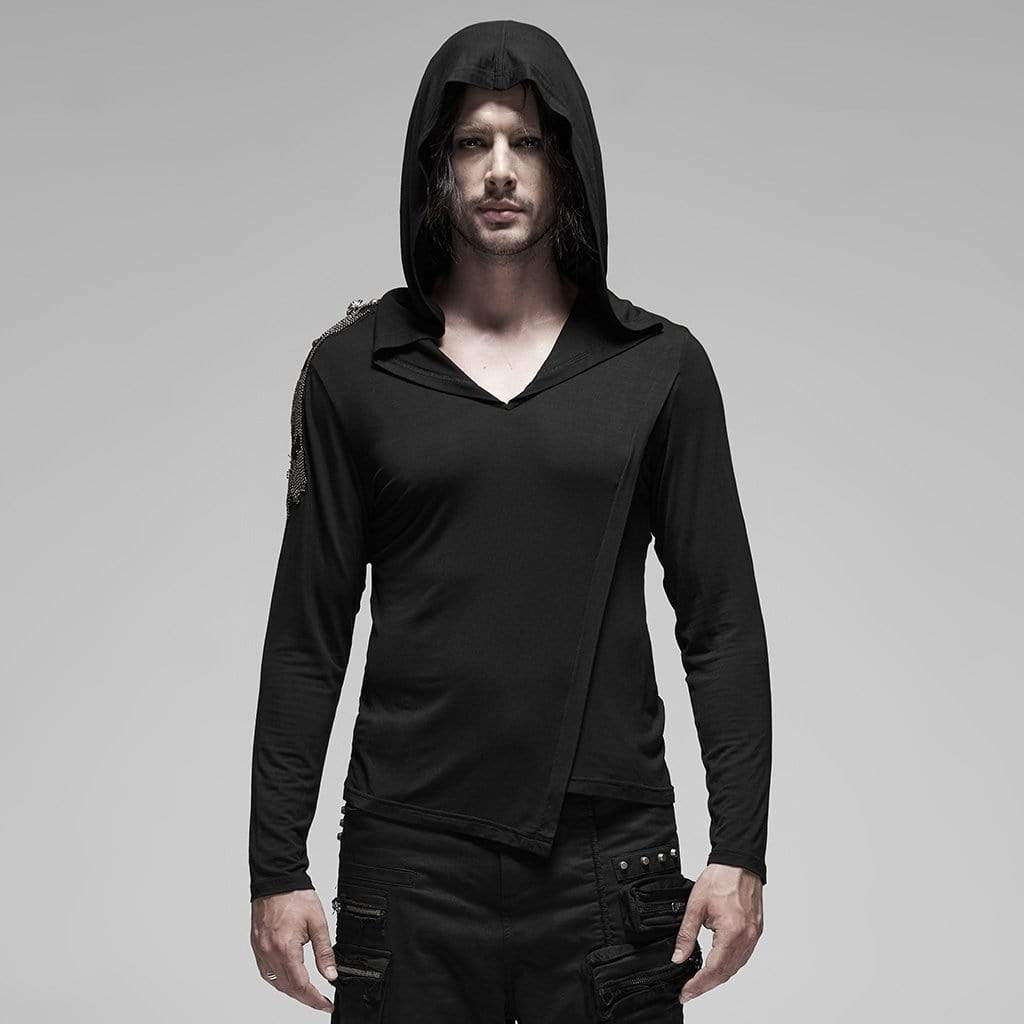 PUNK RAVE Men's Gothic Long Sleeved Irregular Hem Hoodies