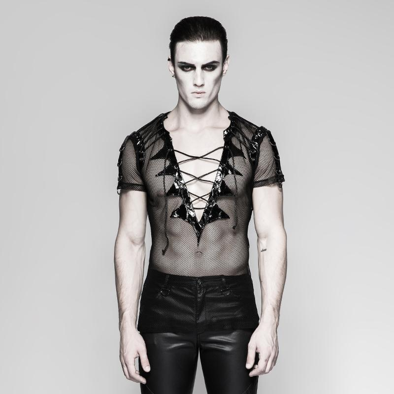 Men's Gothic Mesh Lace-up Shirts - PunkDesign