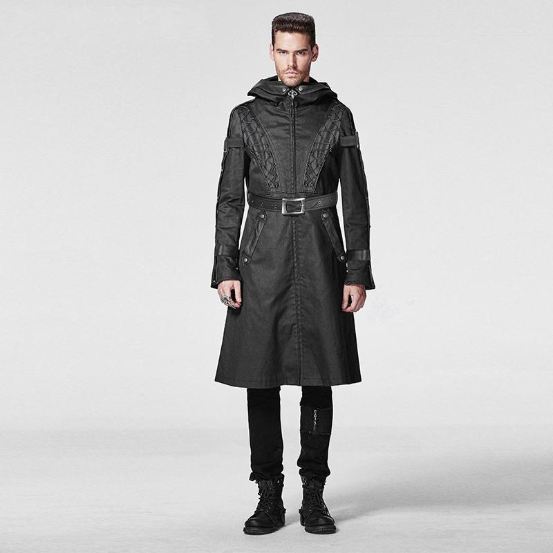 Men's Gothic Military Style Hooded Buckle Up Overcoat - PunkDesign