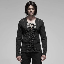 PUNK RAVE Men's Gothic Pirate Ropes Long Sleeve T-shirts