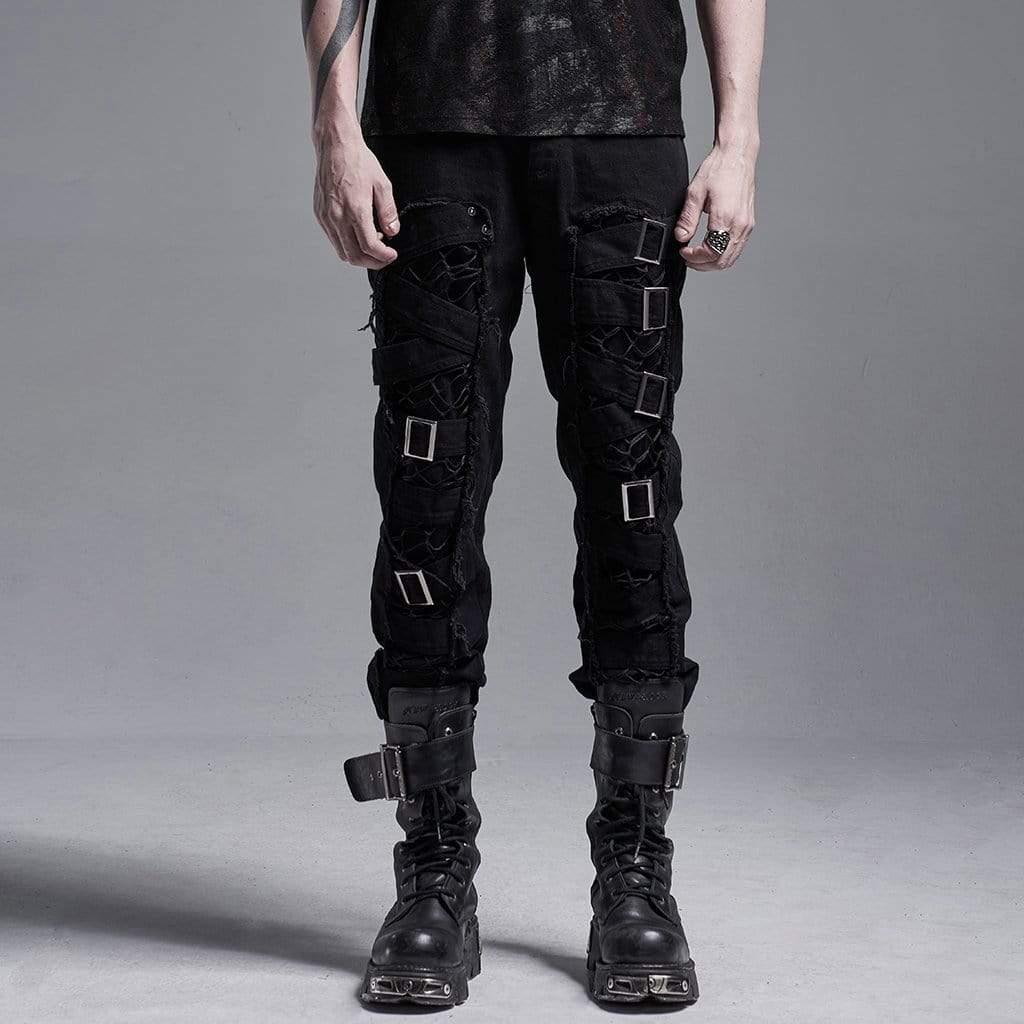 Gothic Ripped Pants With Chains der Punk Rave Herren