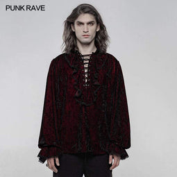 Punk Rave Men's Gothic Ruffles Loosed Velvet Shirts