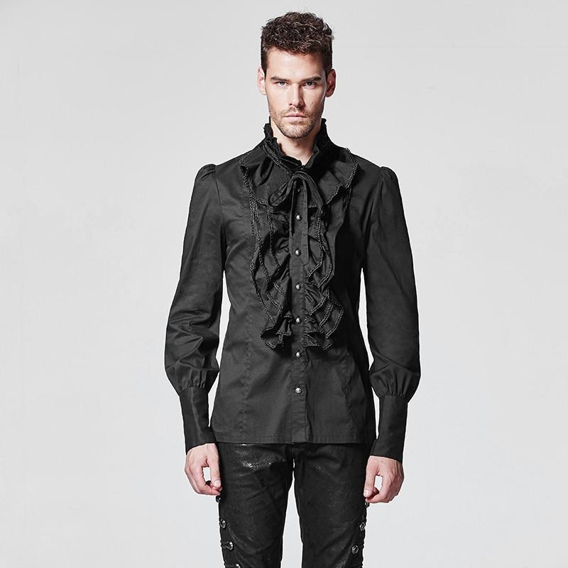Men's Gothic Ruffles Slim Fitted Shirts - PunkDesign