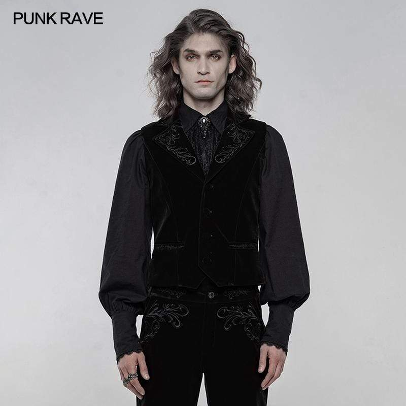 Punk Rave Men's Gothic Slim Fitted Vests With Pocket
