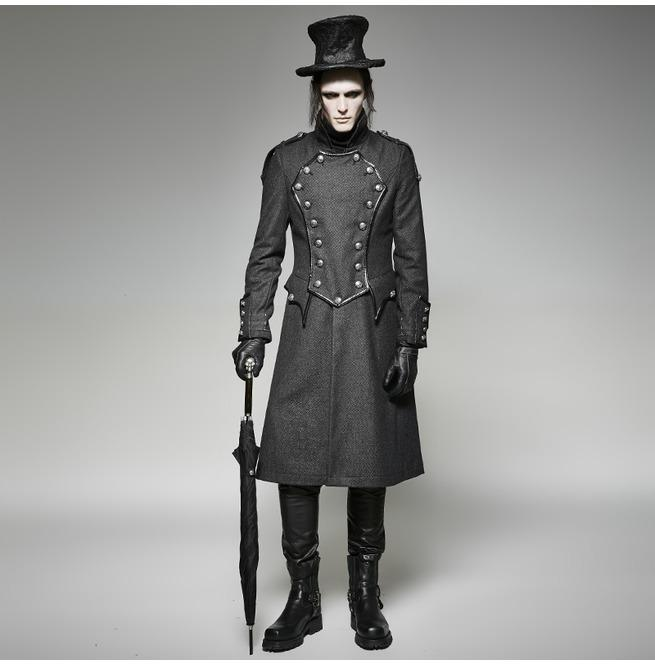 Men's Gothic Winter Double Breasted High Collar Military Overcoat - PunkDesign