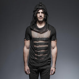Men's Hooded Mesh And Buckles T Shirt - PunkDesign