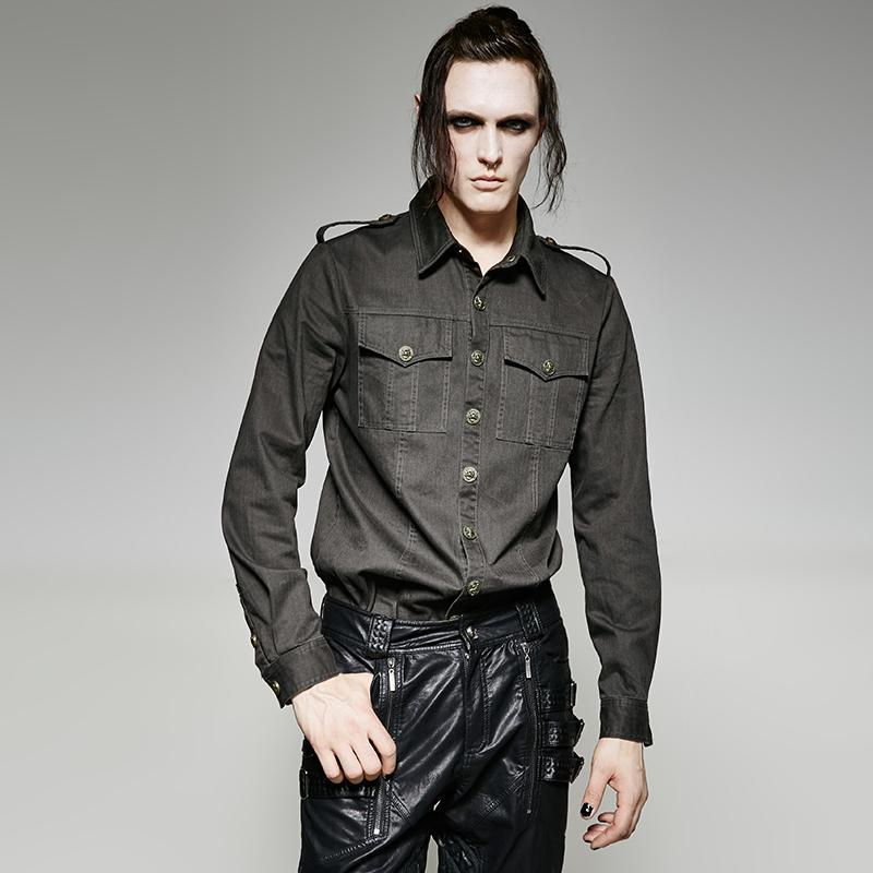 Men's Military Style Casual Shirt - PunkDesign