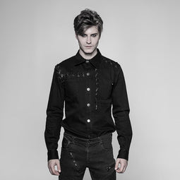 Men's Patch Pocket Steampunk Shirt - PunkDesign