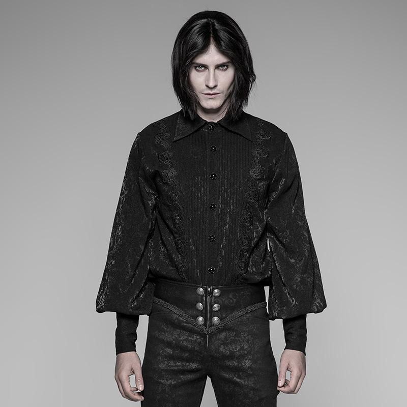 Men's Pleated Front Goth Shirt - PunkDesign