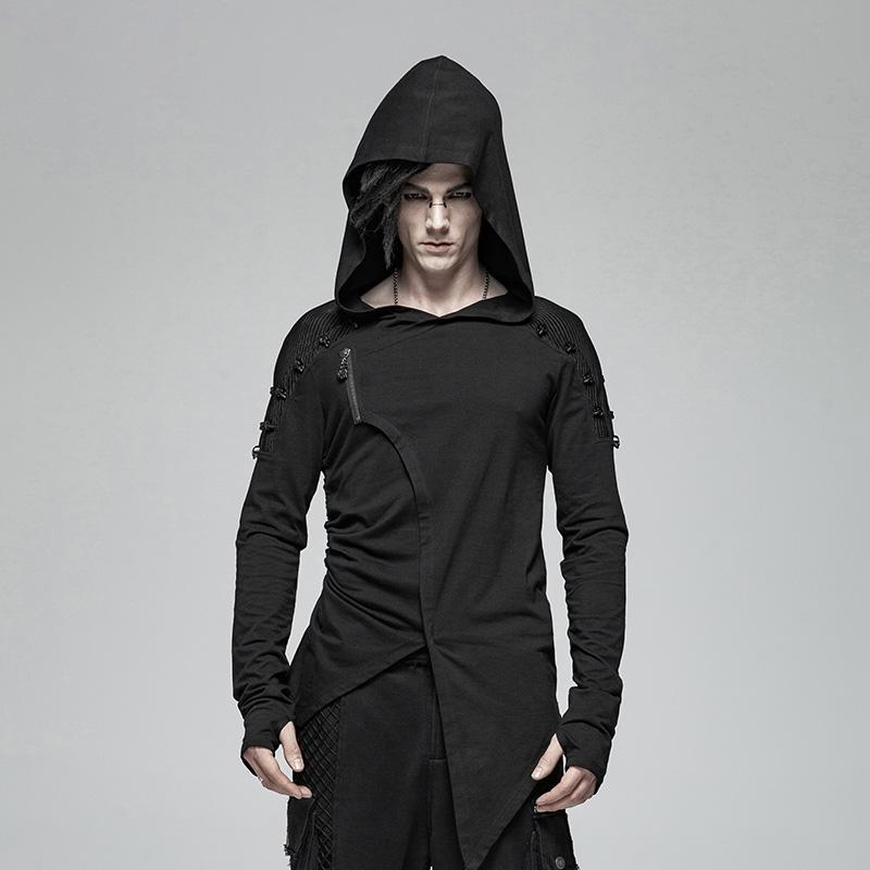 Men's Punk Asymmetry Long Sleeved T-shirts With Hood - PunkDesign