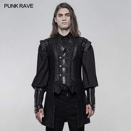 Punk Rave Herren Punk Buckle-up Short Stand Collar Weste