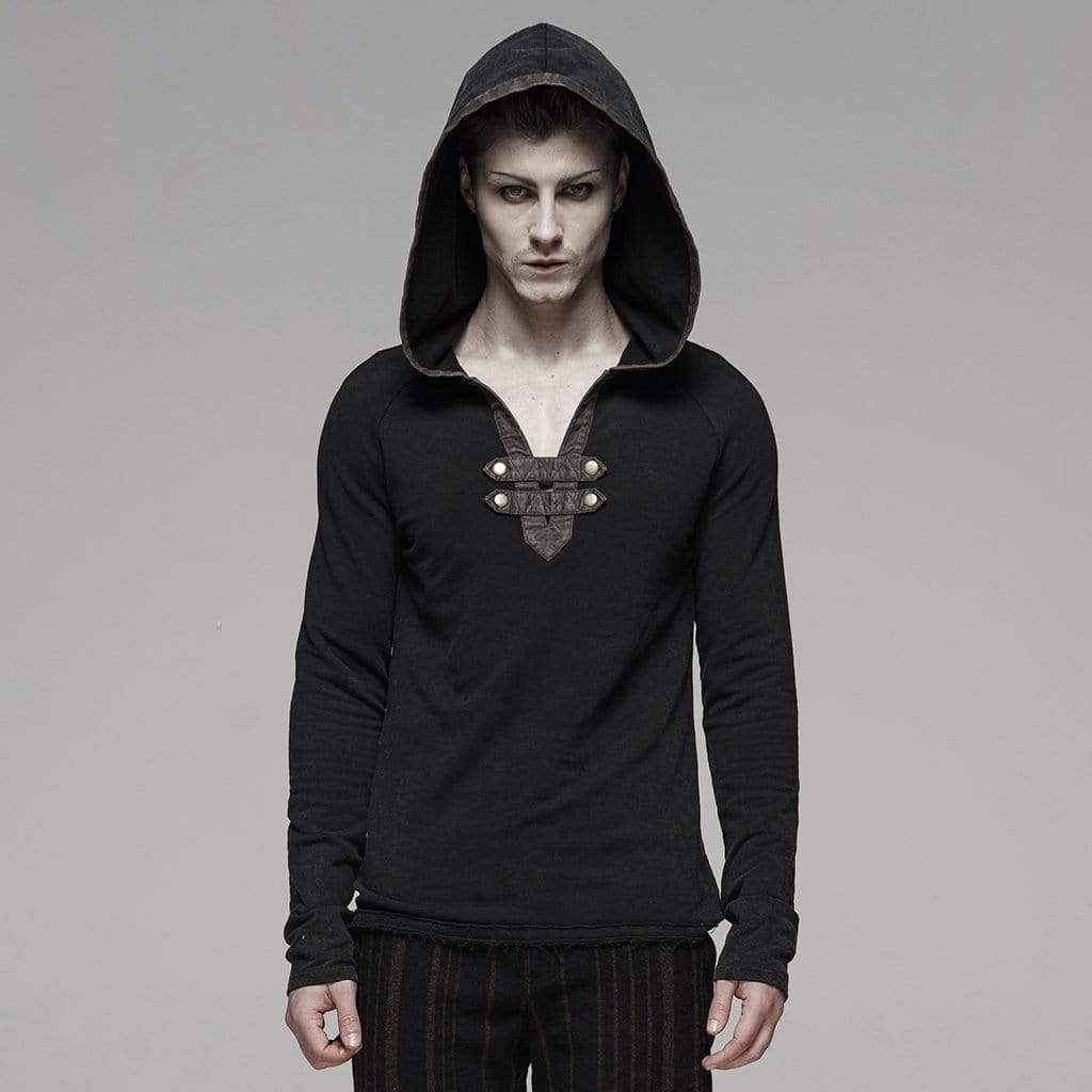 PUNK RAVE Men's Punk Buckles Hoodies Black