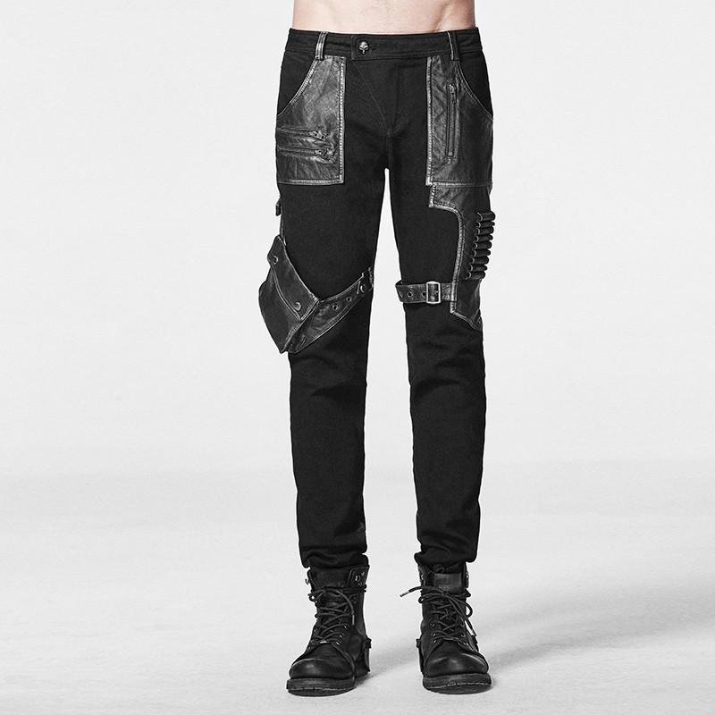 Men's Punk Cargo Pants Black - PunkDesign