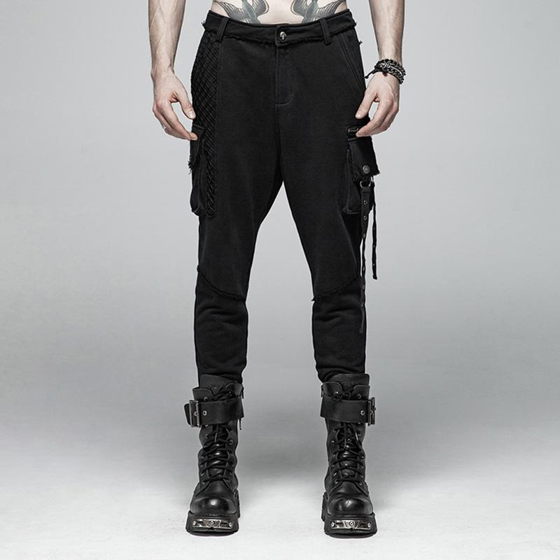 Men's Punk Casual Pants With Two Pockets - PunkDesign