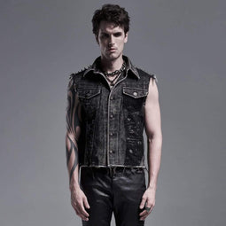 Punk Rave Men's Punk Denim Vests With Rivets