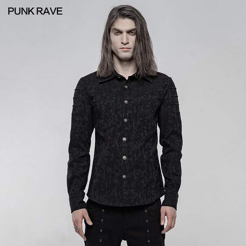 Punk Rave Men's Punk Elastic Jacquard Long Sleeved Shirts