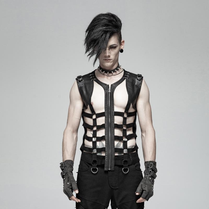 Men's Punk Faux Leather Hollowed-Out Vest - PunkDesign