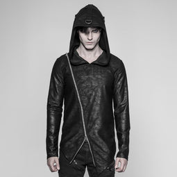 Men's Punk Faux Leather Hoodie - PunkDesign