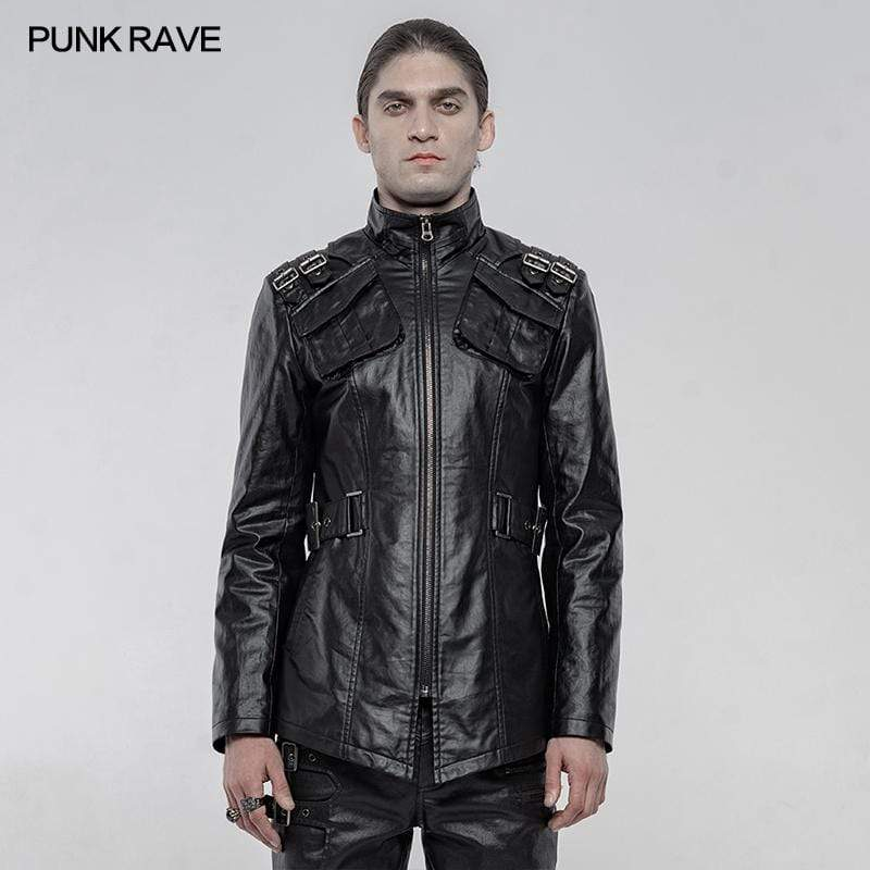 Punk Rave Men's Punk Faux Leather Long Coats