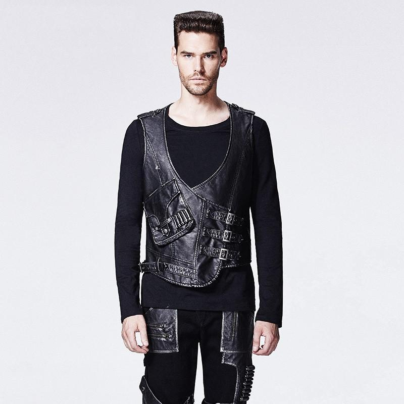 Men's Punk Faux Leather Tooling Vest - PunkDesign