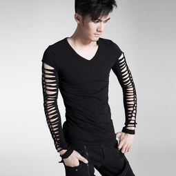 Men's Punk Hollow Out Long Sleeve T Shirt Black - PunkDesign