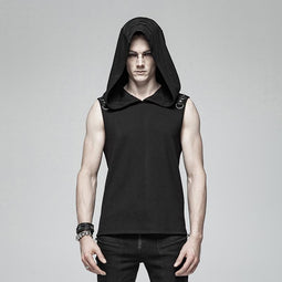 Men's Punk Hooded Tank Tops - PunkDesign