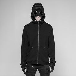 Men's Punk Hoodie With Ribbed Cuffs - PunkDesign